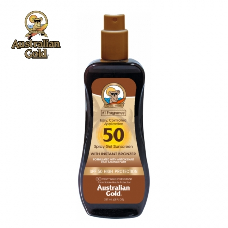 Australian Gold SPF 50 Spray Gel cu bronzanti