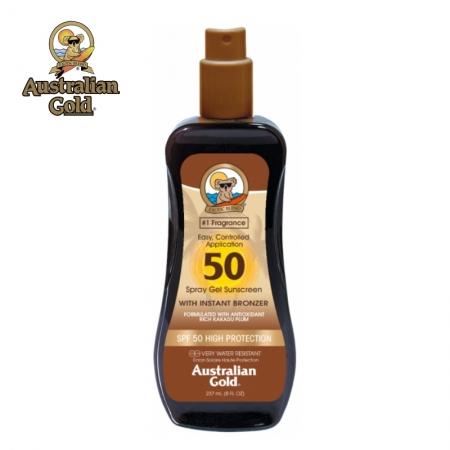 Australian Gold SPF 50 Spray Gel cu bronzanti